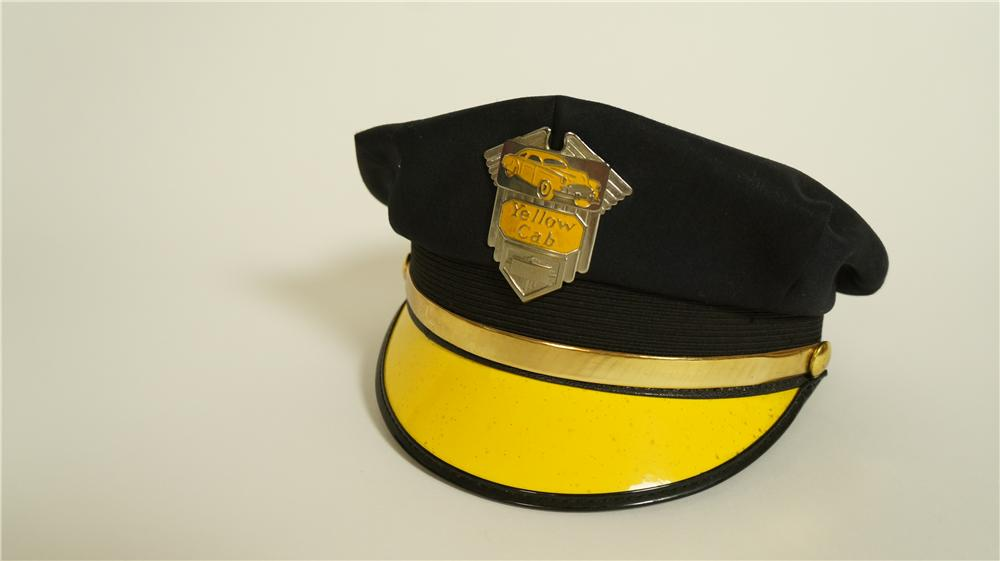 Interesting 1950's Yellow Cab drivers hat with original metal badge depicting a yellow taxi. - Front 3/4 - 174831