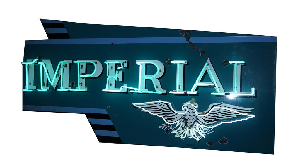 Ultra rare 1950's Chrysler Imperial Automobiles single-sided neon porcelain dealership sign. - Front 3/4 - 174832
