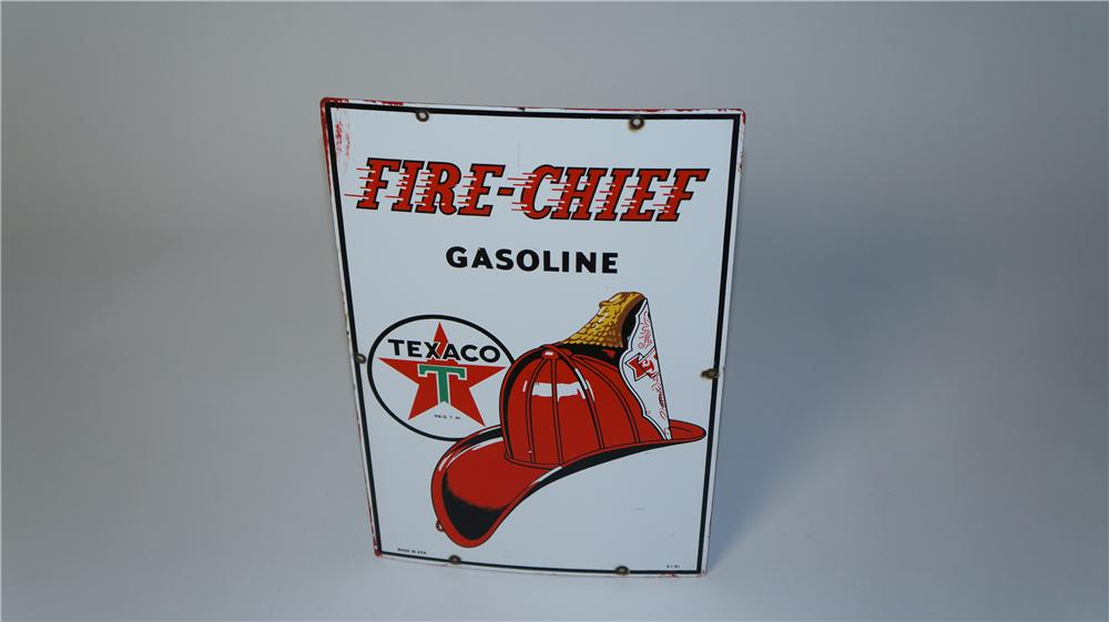 Wonderful 1951 Texaco Fire Chief Gasoline single-sided porcelain service station sign. - Front 3/4 - 174833