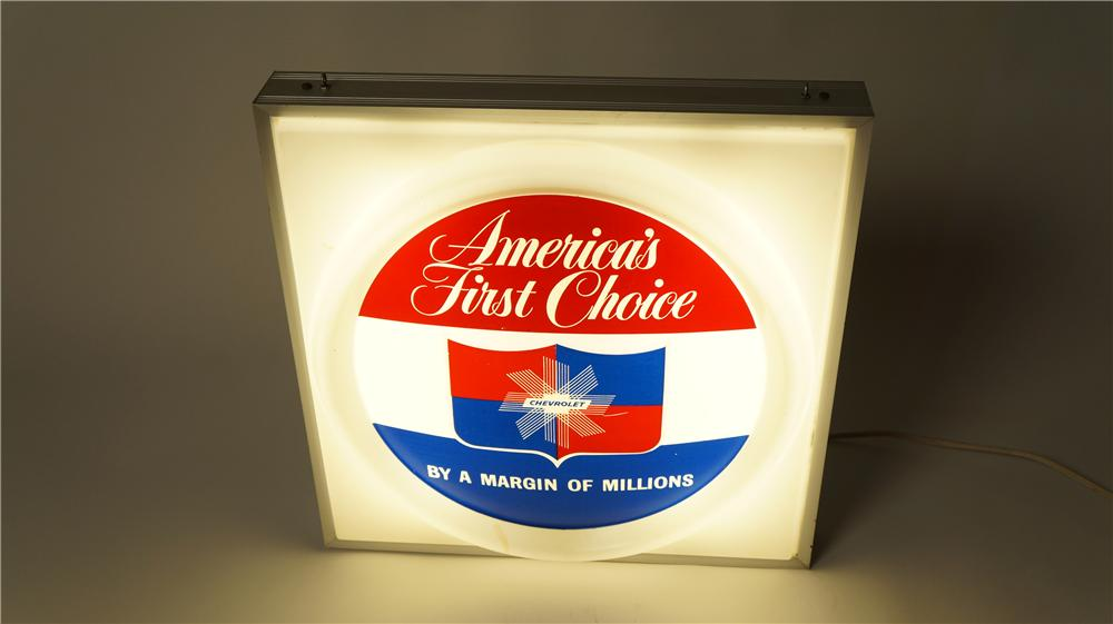 "1950's-60's Chevrolet ""America's First Choice by a margin of millions"" light-up showroom sign. - Front 3/4 - 174836"