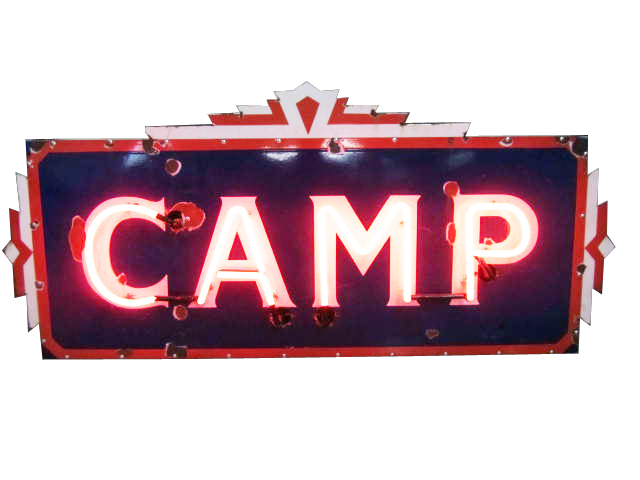 "Choice 1930's ""Camp"" single-sided neon porcelain resort sign with art deco styling. - Front 3/4 - 174863"