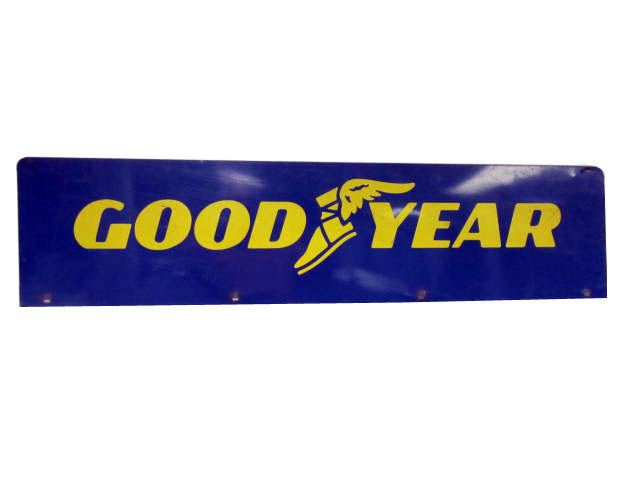 Large Goodyear Tires double-sided tin automotive garage sign with winged foot logo. - Front 3/4 - 174865