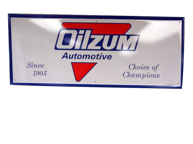 "Large Oilzum ""Choice of Champions"" Motor Oil single-sided tin service station sign. - Front 3/4 - 174868"