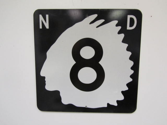 Highly prized 1950's North Dakota Highway 8 metal road sign. - Front 3/4 - 174869