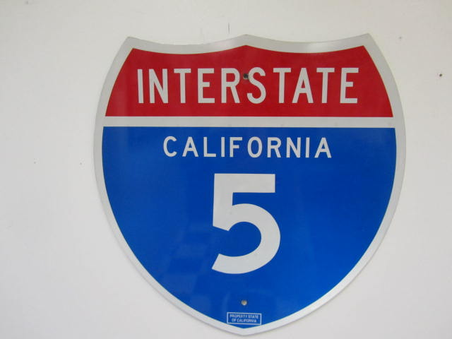 Desirable California Interstate 5 single-sided tin highway road sign. - Front 3/4 - 174872