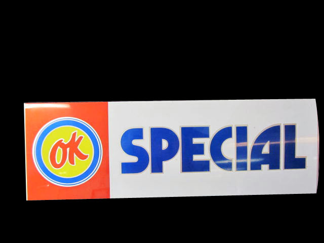 """Fabulous Chevrolet OK Used Car """"Special"""" double-sided tin sales lot car topper sign. - Front 3/4 - 174876"""