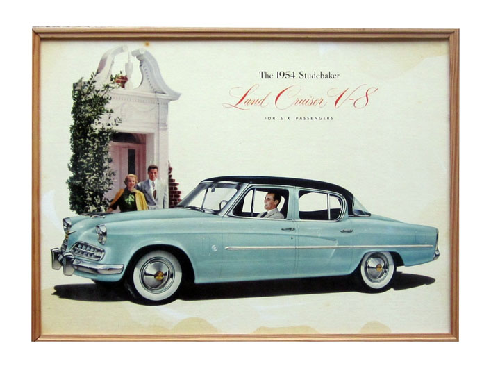 1954 Land Cruiser V-8 six passenger Studebaker dealership showroom cardboard poster. - Front 3/4 - 174879