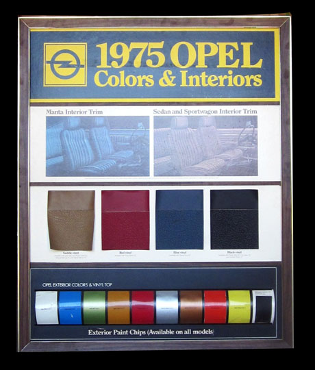 1975 Buick Opel Colors and Interiors dealership showroom full color display. - Front 3/4 - 174883