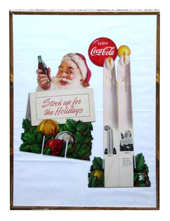 1952 Serve Coca-Cola die-cut this cardboard Santa Claus standee sign with easel back. - Front 3/4 - 174886