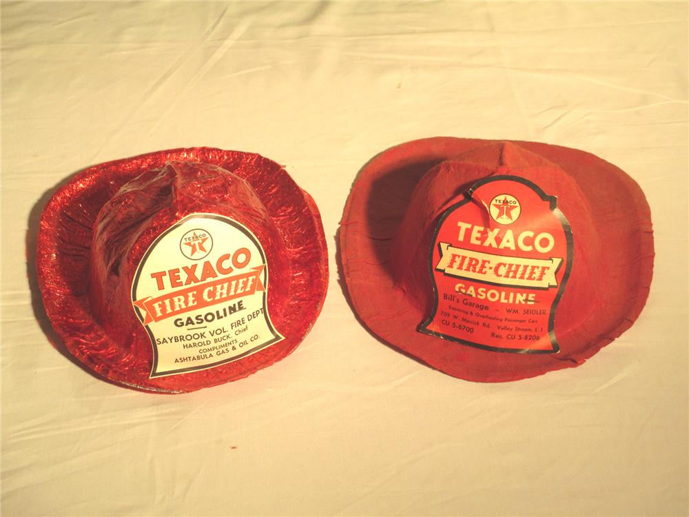 "Lot of two 1960's Texaco ""Fire Chief Gasoline"" children's promotional fire hats. - Front 3/4 - 174889"