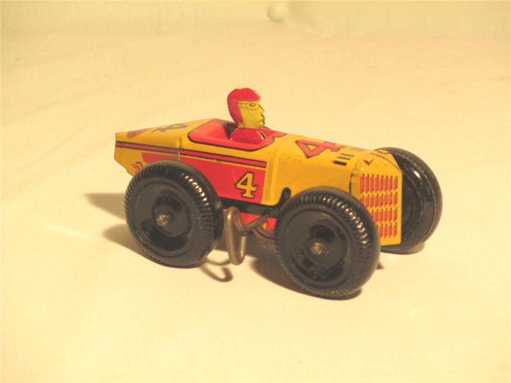 1942 Marx #4 Wind-up tin lighted speedway racer complete with driver and exceptional graphics. - Front 3/4 - 174892