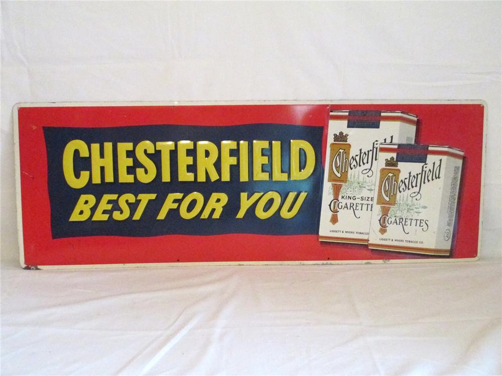 "1950's Chesterfield Cigarettes ""Best for You"" horizontal embossed tin sign. - Front 3/4 - 174898"