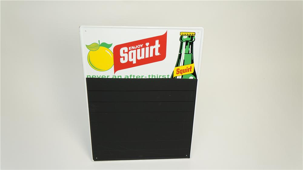N.O.S. 1960's Enjoy Squirt Soda embossed tin diner menu board with embossed bottle graphic. - Front 3/4 - 174908