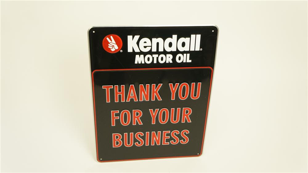 """N.O.S. Kendall Motor Oil """"Thank You for Your Business"""" single-sided embossed tin automotive garage sign. - Front 3/4 - 174909"""