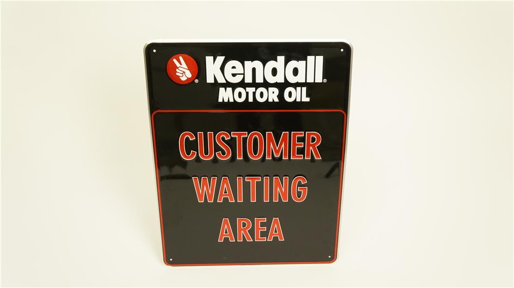 "N.O.S. Kendall Motor Oil ""Customer Waiting Area"" single-sided embossed tin automotive garage sign - Front 3/4 - 174910"