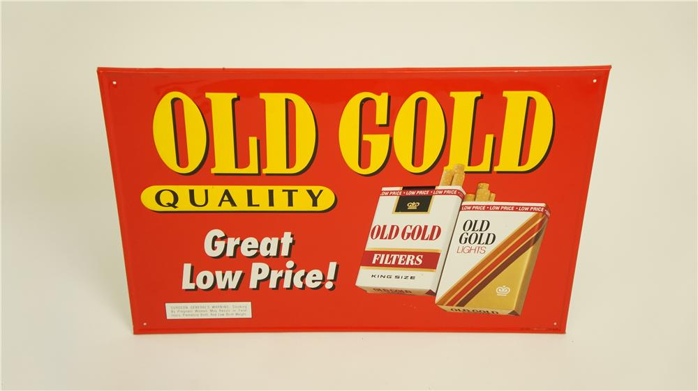 N.O.S. Old Gold Cigarettes tin service station sign with cigarette pack graphics. - Front 3/4 - 174912
