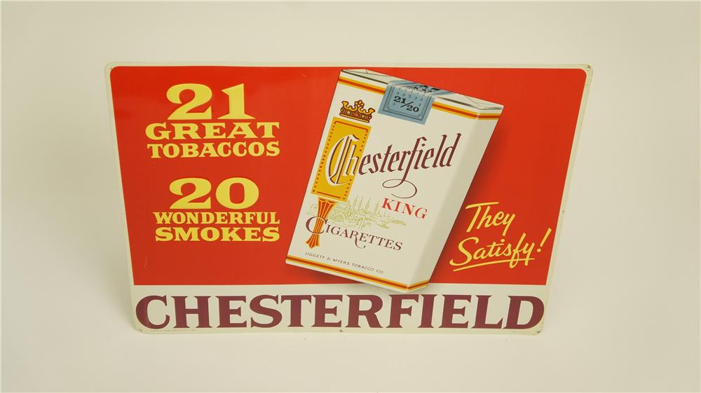 N.O.S. 1950's Chesterfield Cigarettes single-sided embossed tin sign with cigarette pack graphic - Front 3/4 - 174913