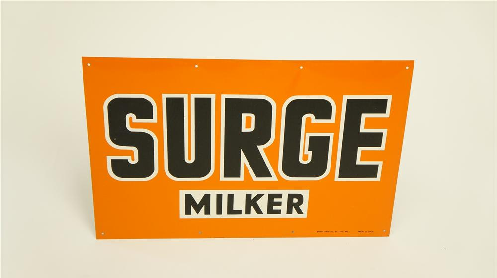 N.O.S. 1940's-50's Surge Milkers single-sided tin sign found in the original shipping paper! - Front 3/4 - 174916