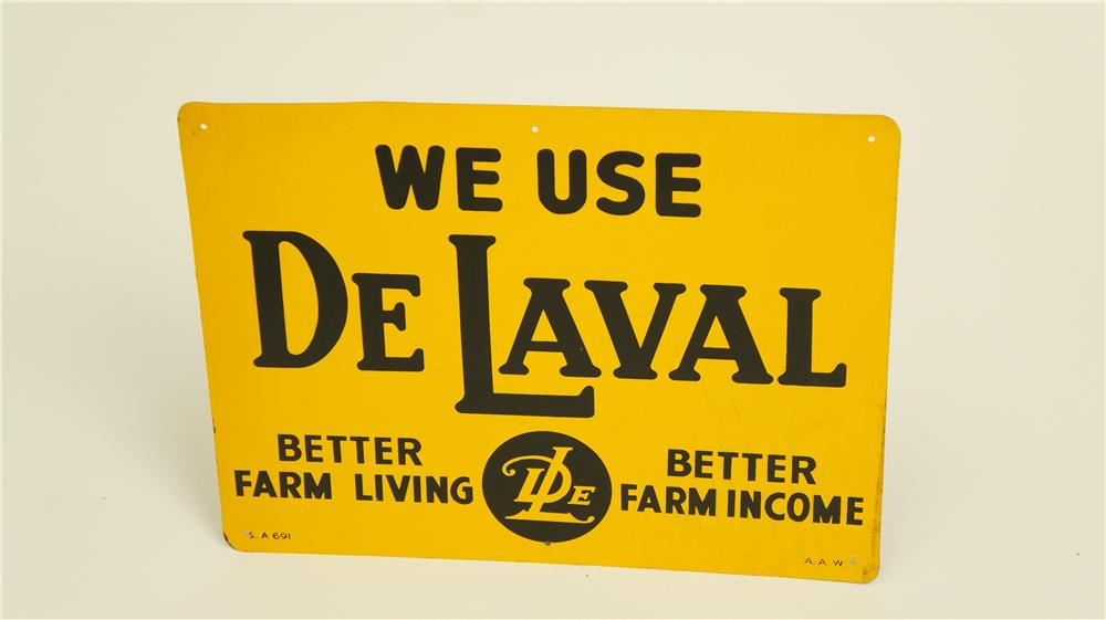 N.O.S. 1940's We Use De Laval Cream Separators single-sided tin sign. - Front 3/4 - 174918