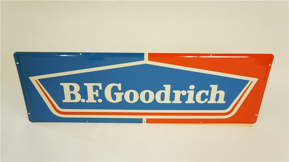 Wonderful N.O.S. 1960's B.F. Goodrich single-sided tin automotive garage sign pulled out of the original shipping paper! - Front 3/4 - 174921