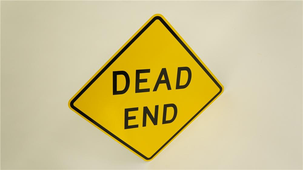 N.O.S. Dead End metal highway road sign found unused! - Front 3/4 - 174923