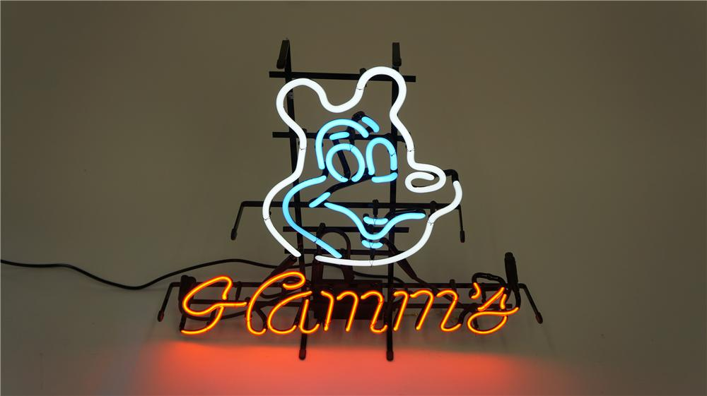Neat Hamm's Beer single-sided light-up tavern neon sign featuring the famous Hamm's Bear icon. - Front 3/4 - 174929