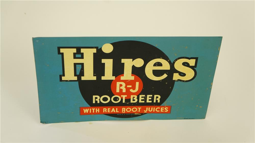 N.O.S. 1930's Hires Root Beer single-sided tin soda fountain dispenser sign. - Front 3/4 - 174930