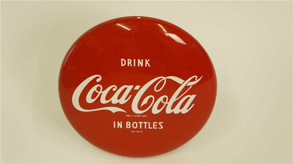 Stunning N.O.S. 1950's Drink Coca-Cola in Bottles single-sided three-dimensional button sign. - Front 3/4 - 174931