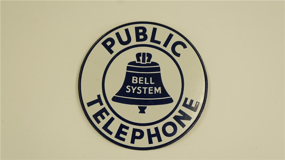 Very clean 1940's Public Telephone single-sided porcelain sign with bell graphic. - Front 3/4 - 174945