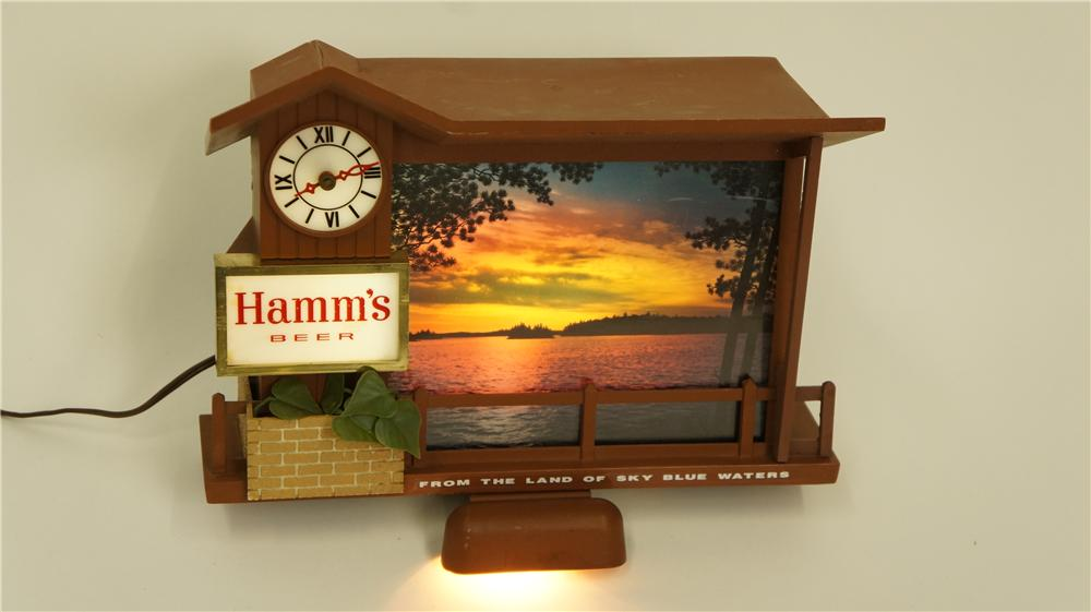 "Extremely scarce Hamm's Beer ""Stormy Skies"" light up tavern sign with clock. - Front 3/4 - 174946"