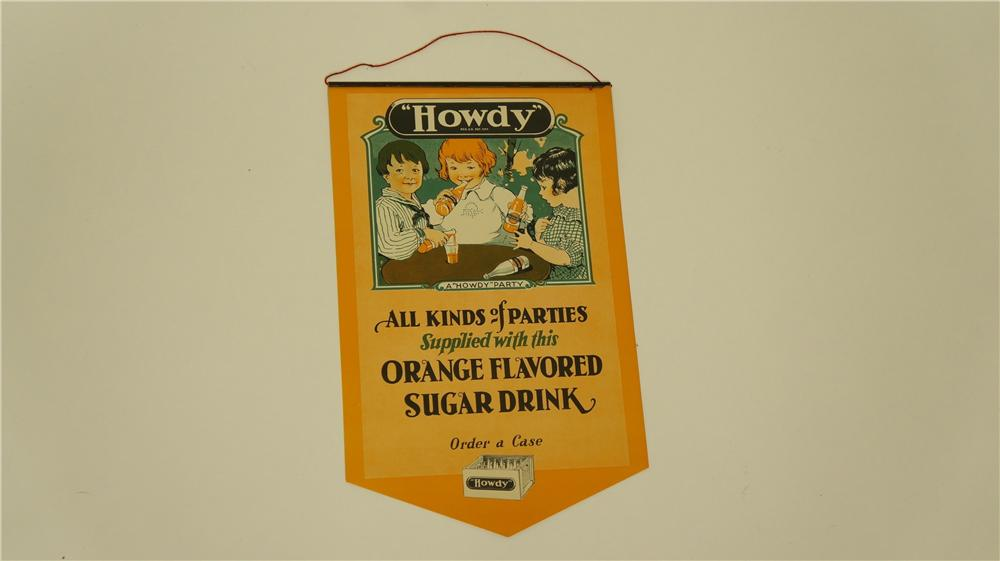 1928 N.O.S. Howdy Orange Soda general store paper banner with original metal hanger attached - Front 3/4 - 174947