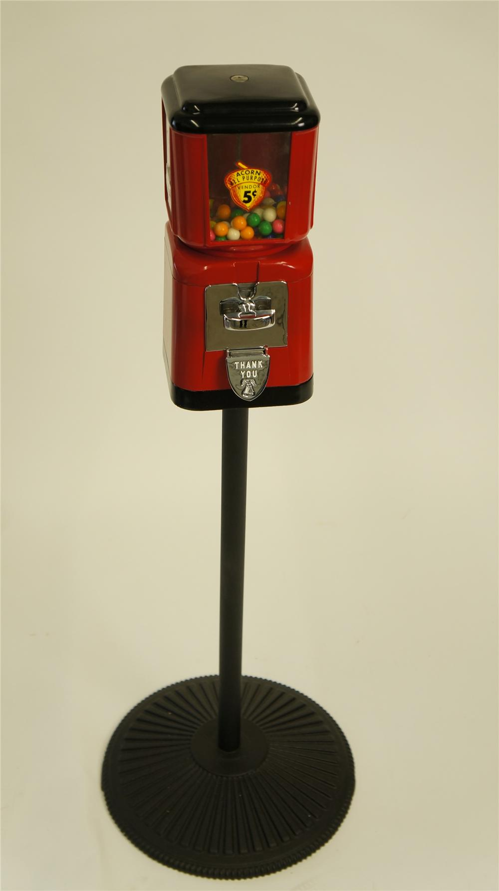Nicely restored 1950's Acorn 5 cent gumball machine on stand. - Front 3/4 - 174948