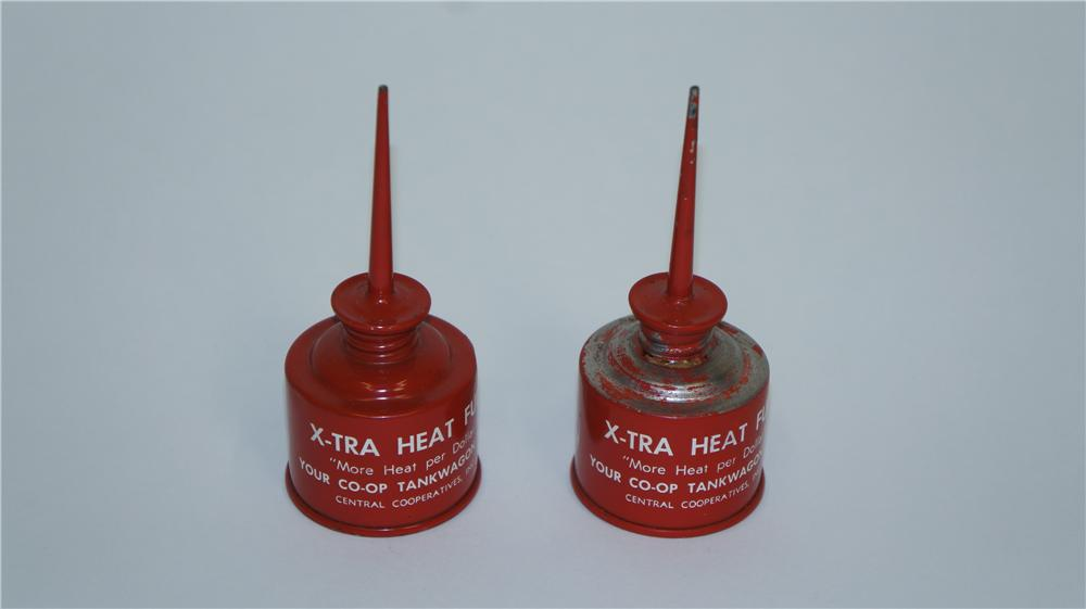 Lot of two circa 1940's Coop X-tra Heat fuel handy oilers. - Front 3/4 - 174954