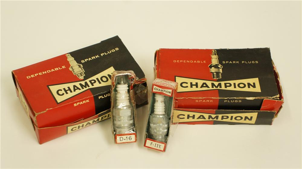 Lot of two N.O.S. 1950's Champion Spark Plugs automotive garage counter-top display boxes still full of N.O.S. plugs. - Front 3/4 - 174955