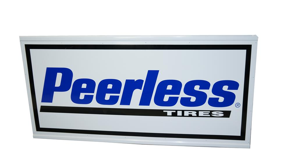 Large N.O.S. Peerless Tires single-sided horizontal tin automotive garage sign. - Front 3/4 - 174957