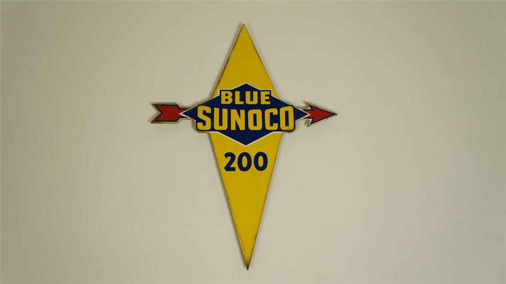 Highly sought after 1950's Blue Sunoco 200 Gasoline die-cut porcelain pump plate sign. - Front 3/4 - 174980