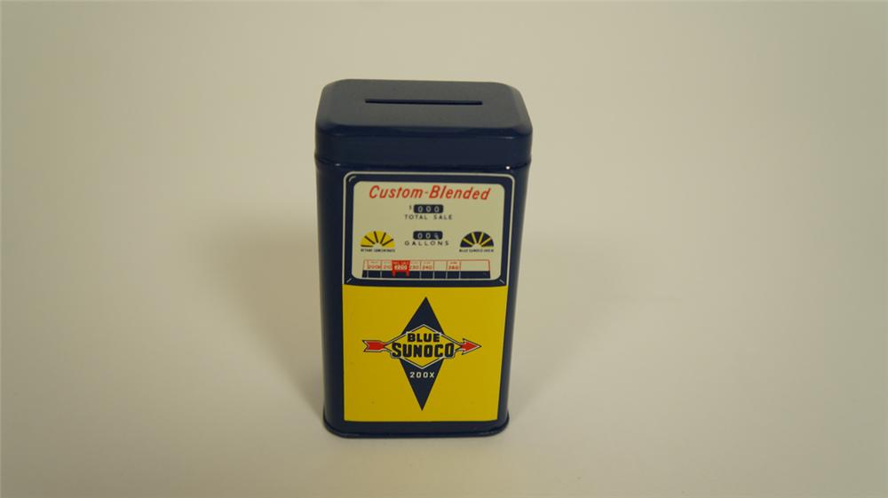 Sharp N.O.S. 1960's Sunoco Oil dealer promotional custom blended gas pump tin coin-bank. - Front 3/4 - 174983