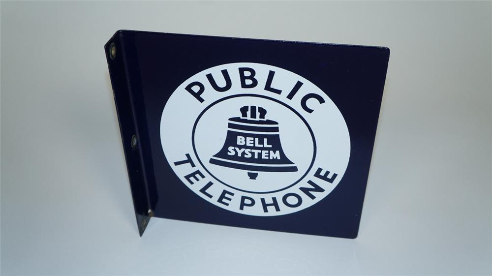 Sharp 1940's Bell System Public Telephone porcelain flange sign with bell logo. - Front 3/4 - 174986