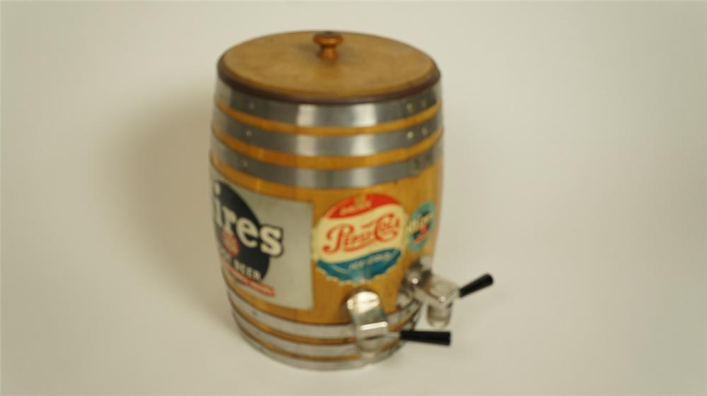 Wonderful 1940's-50's Pepsi-Cola and Hires wooden keg shaped soda fountain dual soda dispenser. - Front 3/4 - 174988