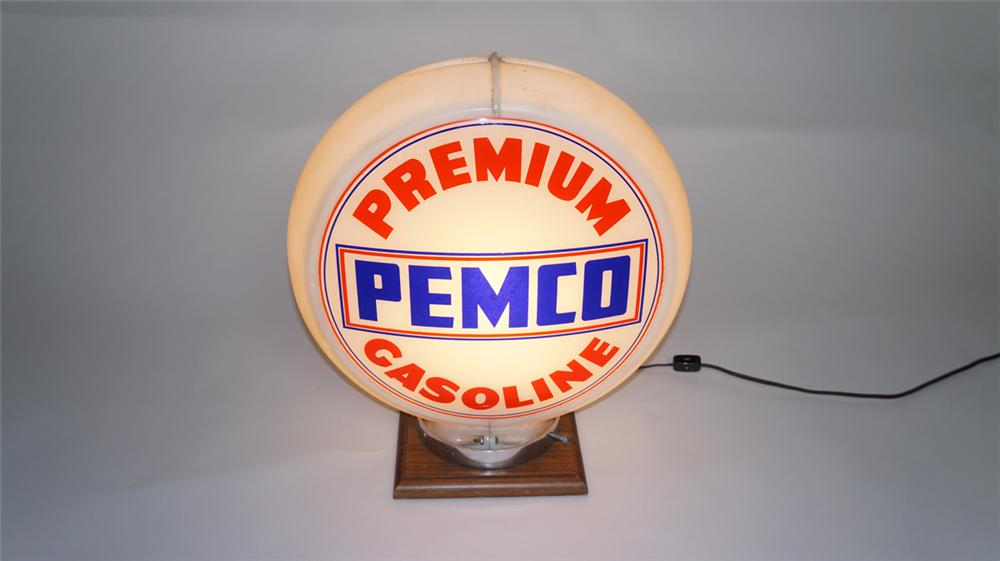 1950's Pemco Premium Gasoline gas pump globe in a Capcolite body. - Front 3/4 - 174990