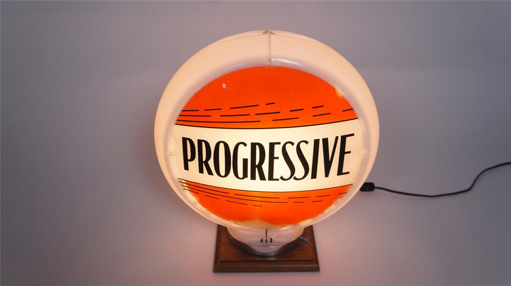 Very uncommon 1940's-50's Progressive Gasoline gas pump globe in a Capcolite body. - Front 3/4 - 174997