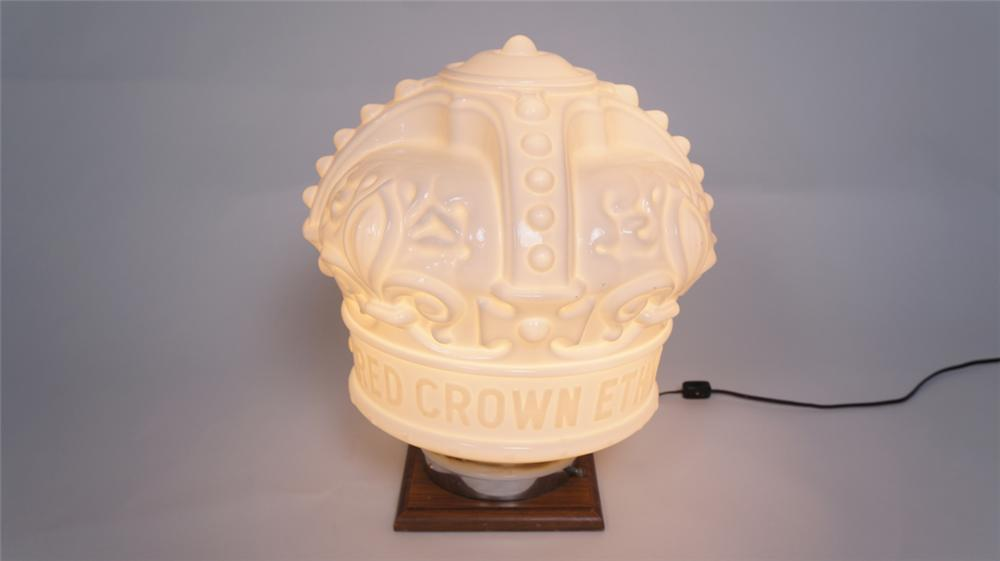 "Scarce 1930's Standard Oil Red Crown Gasoline embossed ""Ethyl"" crown shaped one-piece milk glass gas pump globe. - Front 3/4 - 174999"