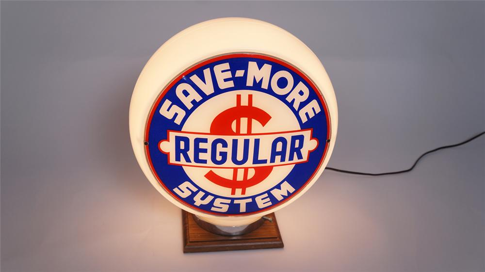 Very uncommon 1940's Save-More Regular Gasoline wide bodied milk glass gas pump globe. - Front 3/4 - 175000