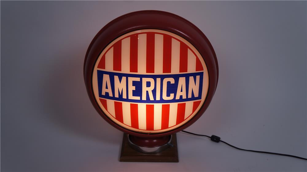 Museum quality 1920's American Oil (Standard) glass lenses metal bodied gas pump globe. - Front 3/4 - 175002