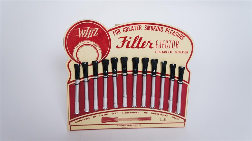 Nifty N.O.S. 1930's Whiz chrome and Bakelite cigarette holder easel backed counter-top display. - Front 3/4 - 175004
