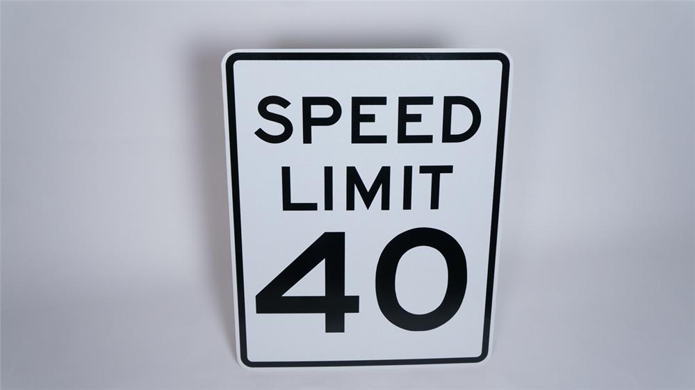 N.O.S. Speed Limit 40 highway metal road sign found unused! - Front 3/4 - 175009