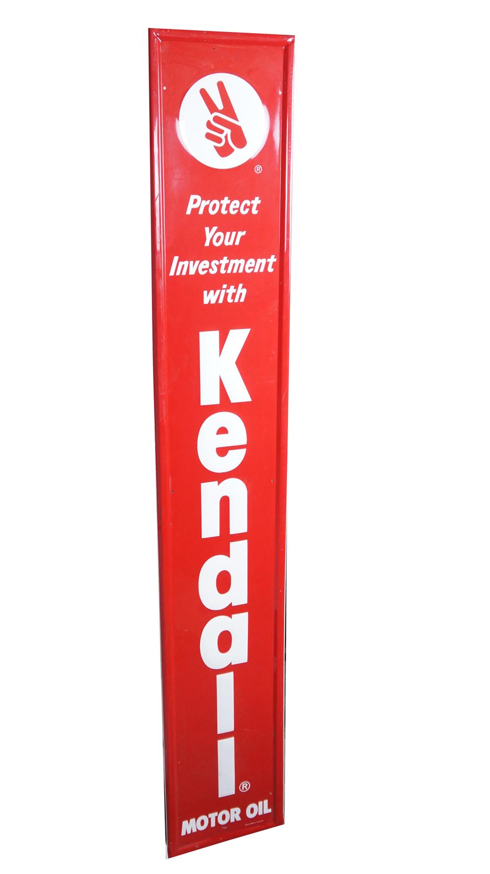 Very clean Kendall Motor Oil vertical self-framed tin automotive garage sign. - Front 3/4 - 175011