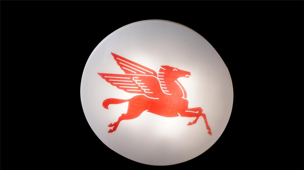 "Large Mobil Oil single-sided light-up service station sign featuring ""Pegasus"". - Front 3/4 - 175013"