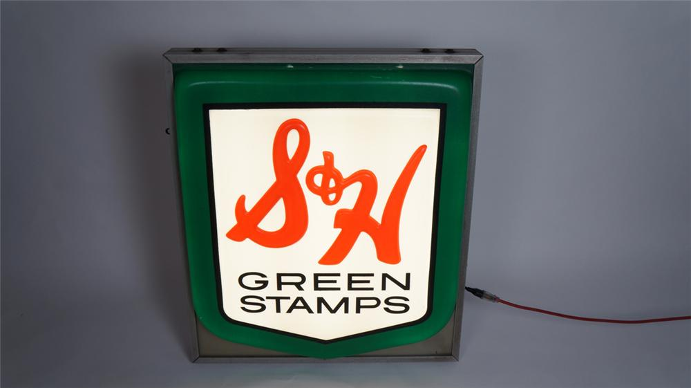 Neat 1960's S&H Green Stamps single-sided light-up service station sign. - Front 3/4 - 175015