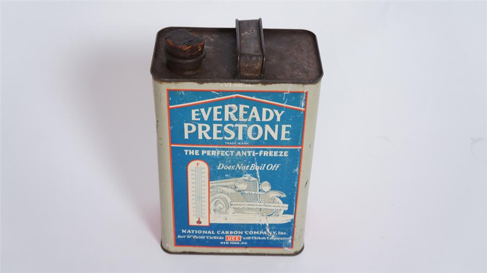 1930's Eveready Prestone Anti-Freeze solder seemed one gallon can with nice graphics. - Front 3/4 - 175020